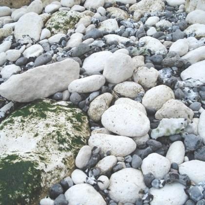 West - chalk boulders and flint cobbles