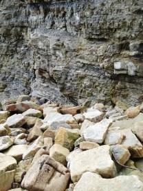 Large sandstone blocks and cliffs