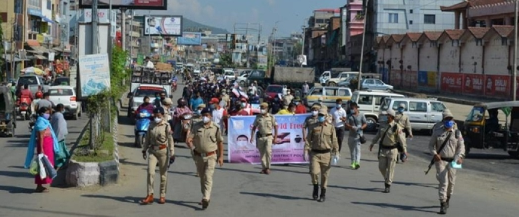 A rally of police and health frontline COVID 19 workers to create awareness on COVID 19 pandemic in Imphal on Saturday 2
