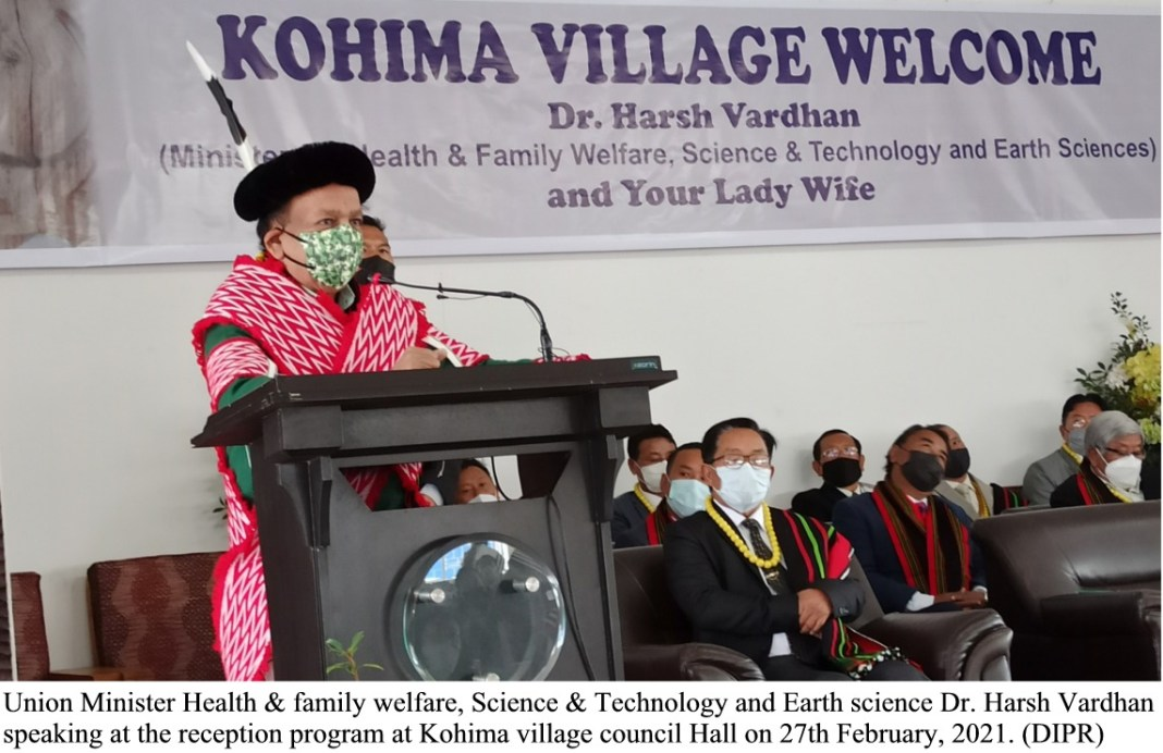 Union Minister HFW speaking at the reception program at Kohima village