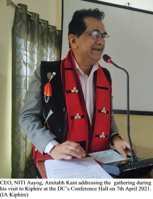 CEO Niti Aayog Kant addressing the gathering at Kiphire