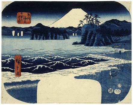 Andō Hiroshige, Shichirigahama bei Kamakura in Sōshū (Provinz Sagami), 1855; Quelle: ukipedia.de