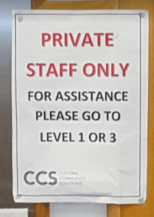 Notice in Croydon Central Library, also run by CCS