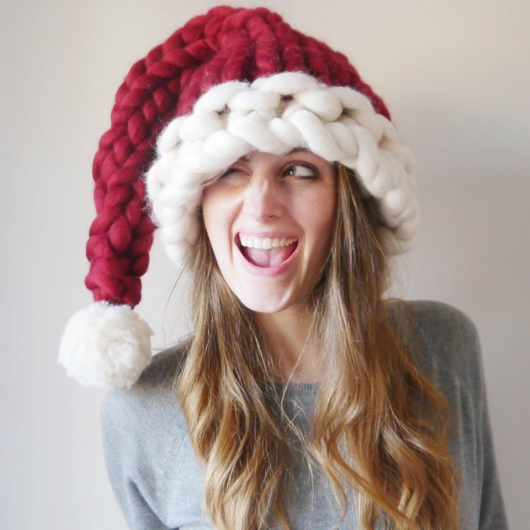 Chunky Knitted Santa Hat
