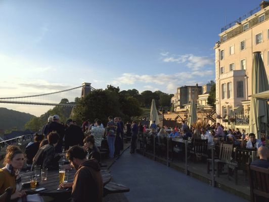 White Lion Bar Terrace with Clifton Suspension Bridge