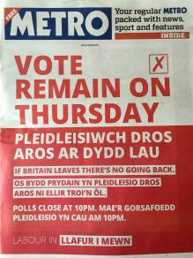 Front-Page Opinion on Referendum Eve