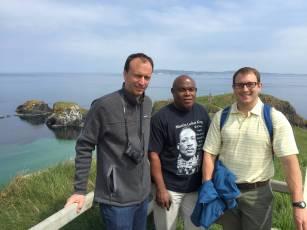 Kris Larsen (NYU), Ted Ogaldez (Davidson), and Grant Eustice (St. Olaf) overlooking Carrick-A-Rede Rope Bridge, Northern Ireland