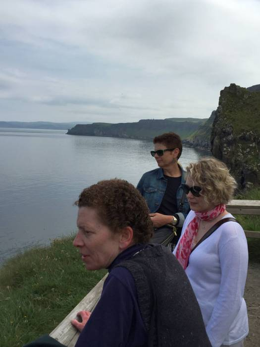 Pat Taylor (Marist), Tiffany Kershner (NC State), and LuAnn Saunders-Kanaby (Connecticut) watching the bridge-crossers at Carrick-A-Rede, Northern Ireland