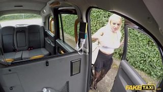 Fake Taxi Blonde British wife having sex in a taxi in knickers