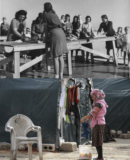 Группа женщин и молодая девушка стирают одежду в лагерях беженцев в Эль-Шатте, Египет, и Баб-аль-Хаве недалеко от границы между Сирией и Турцией в 1945 и 2014 годах.Фото предоставлены Отделом управления архивами и записями ООН и Муазом Аль-Омаром, Reuters.