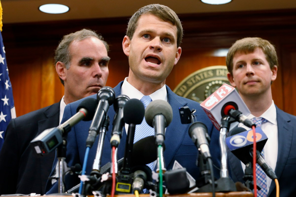 U.S. Attorney Thomas Cullen, center, speaks to reporters during a news conference after the sentencing of James Alex Fields Jr. in federal court in Charlottesville, Va., Friday, June 28, 2019. Fields was sentenced to life in prison for his role in a…