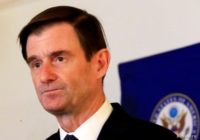 U.S. Under Secretary for Political Affairs David Hale addresses a news conference at U.S. Embassy in Khartoum, August 7, 2019.