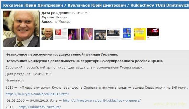 """Российский кошатник Куклачев занесен в базу """"Миротворца"""""""