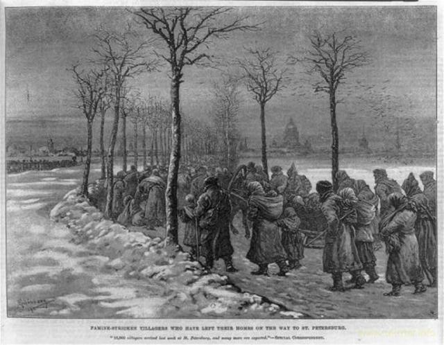 Западная иллюстрация — голодные московиты-крестьяне толпой идут в поисках пропитания в Санкт-Петербург