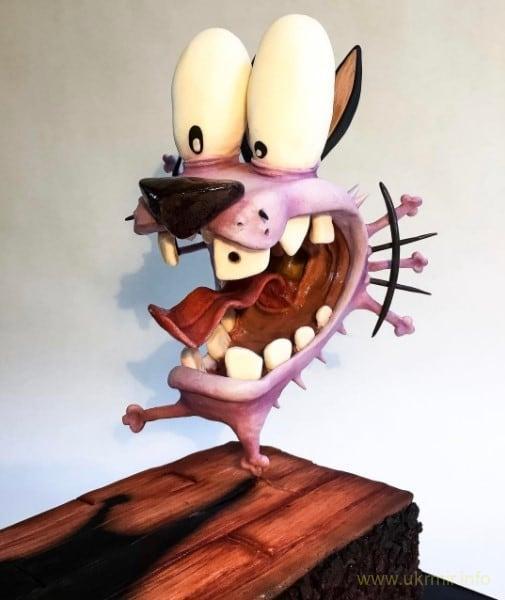 Забавный торт в виде главного героя американского мультсериала «Кураж – трусливый пес»