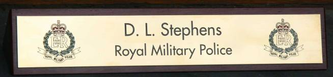 With engraved brass plaque