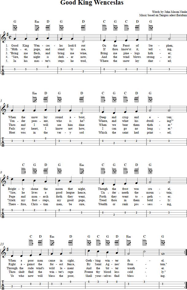 Good King Wenceslas  Ukulele Chords Sheet Music Tab Lyrics