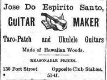 José De Espirito Santos fabricant de guitares en bois hawaïen