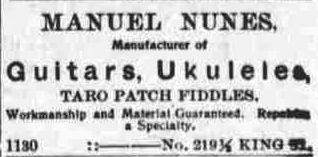Manuel Nunes fabricant de ukulélés et de guitares - Inventeur du Ukulélé ?