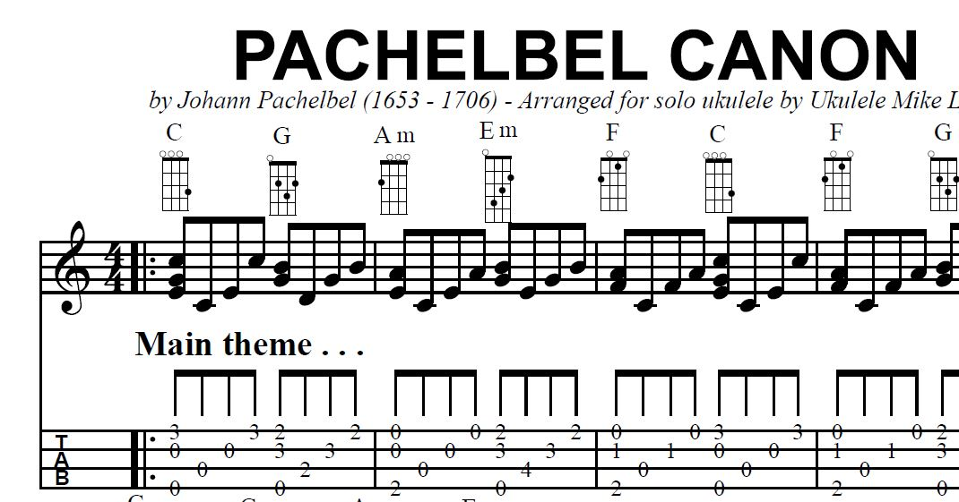 "The ""PACHELBEL CANON"" arranged for solo ukulele by Ukulele"