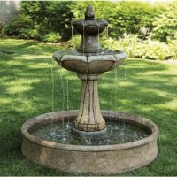 Medium Two Tier Charlotte Fountain on Pool Cast Stone ...