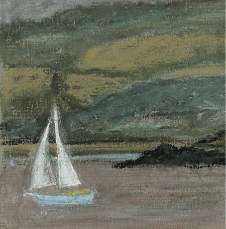 giclee print of yacht passing Denny Island