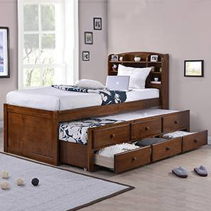 Ateneo Storage Headboard Single Bed With Trundle And Size Polished Cherry
