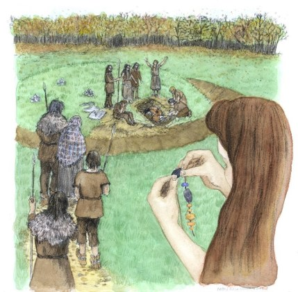 Burial of a woman at Barrow 3. Artwork by Debbie Miles-Williams.