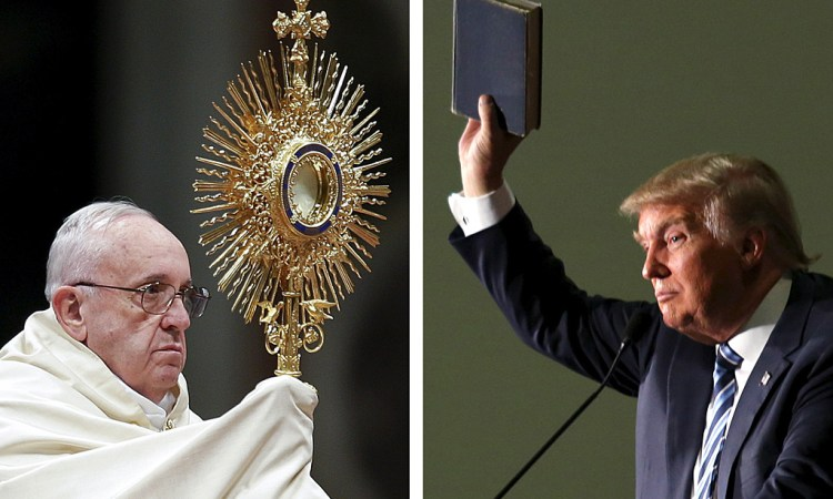 "Pope Francis leads the First Vespers and Te Deum prayers in Saint Peter's Basilica at the Vatican December 31, 2015 and U.S. Republican presidential candidate Donald Trump (R) holds up a copy of the Bible he said his mother gave him as a youth during a campaign rally in Council Bluffs, Iowa, December 29, 2015 in a combination of file photos. Pope Francis assailed Republican presidential candidate Donald Trump's views on U.S. immigration as ""not Christian"" on Thursday, prompting the billionaire businessman to assail the religious leader as ""disgraceful"" for questioning his faith. REUTERS/Max Rossi/Lane Hickenbottom/Files TPX IMAGES OF THE DAY"