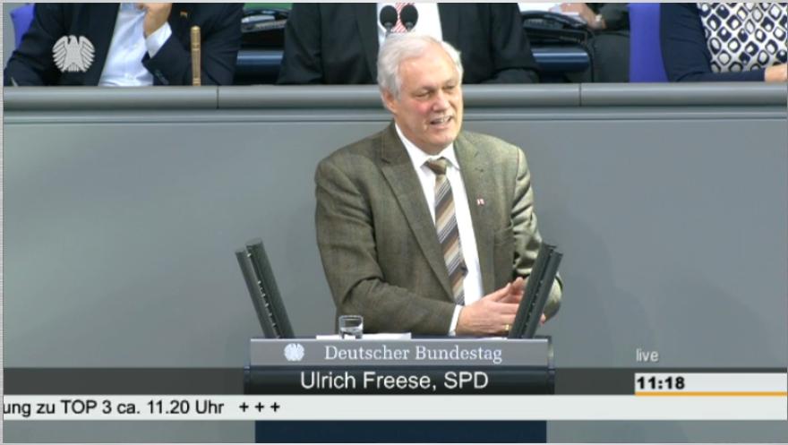 Uli Freese am 13. Februar 2014 mit seiner ersten Rede vor dem Deutschen Bundestag