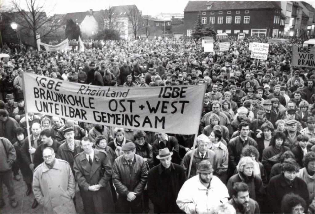 1. Februar 1994: IG BE Demonstration in Weißwasser (Foto: Erich Schutt)
