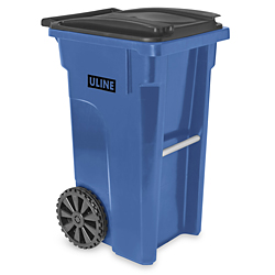 Uline Trash Can with Wheels 35 Gallon Blue H4202BLU