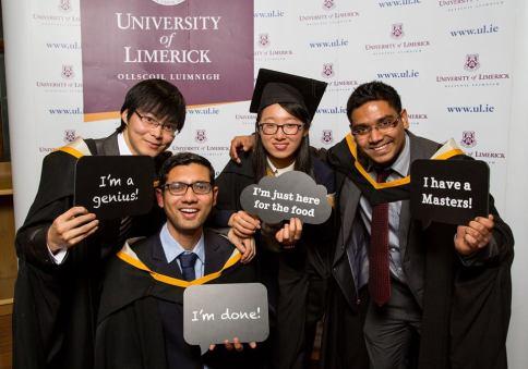 MSc. in Financial Services graduates, Zhi Xiao Guo, Shashank Venugopalan, Yini Gao and Kumar Deepam