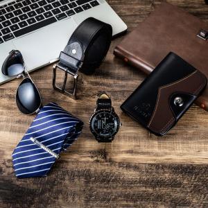 Set -6pes/set Men's Gift Set Beautifully Packed Watch+Belt Tie Wallet Simple Combination Waterproof Wristwatch Watch for Women