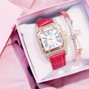 Beautifully Packed 2pcs/set ladies fashion elegant square dial belt quartz watch+star bracelet watch