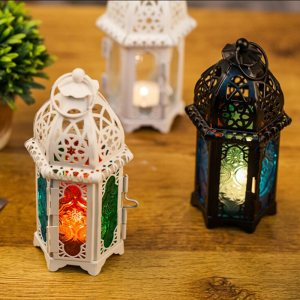 Moroccan Style Hollow Candle Holder Votive Candle Holder Hanging Lantern Wrought Iron Glass Lantern Candlestick Home Decoration