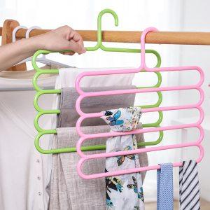 5 Layers MultiFunctional Pants Hangers Holders Trousers Hanger Storage Rack Clothes Hanger Space Saver Wardrobe Closet Organizer