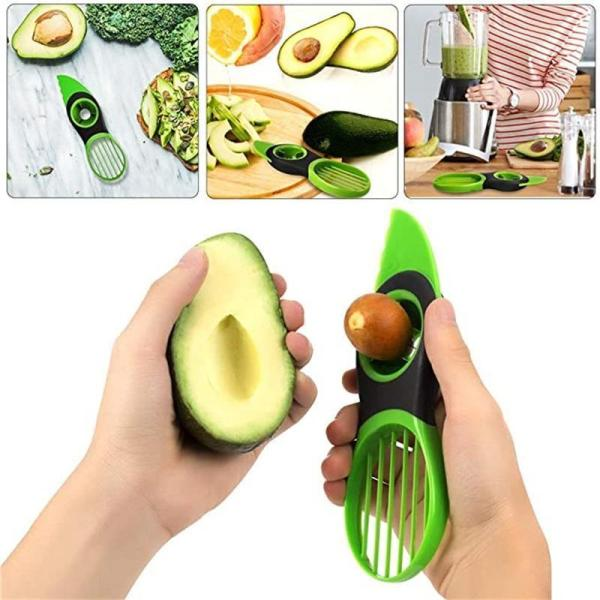 Multi-function 3-in-1 Avocado Slicer Peeler Cutter Tools Plastic Knife Avocado Corer Vegetable Tools Kitchen Accessories