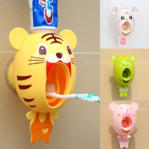 Multifuncional Bathroom Accessories Toothpaste Squeezer Automatic Toothpaste Dispenser Wall Stand Shelf Toothbrush Holder