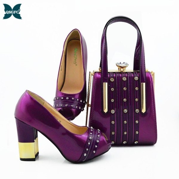 New Arrival royal blue Color African Women Matching Italian Shoes and Bag Set Decorated with Rhinestone small size design