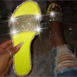 Blue Glitter Slippers Women Summer Beach Sandals