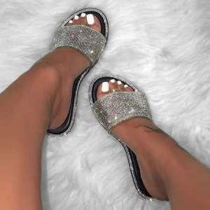 Silver Glitter Slippers Women Summer Beach Sandals