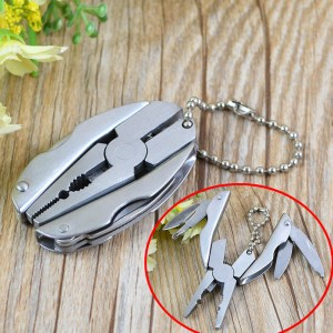 Mini Foldaway Multi Pocket Tools Keychain Knife Stainless Screwdriver Plier