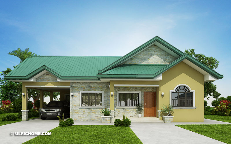 Print Modern Bungalow House Design With Three Bedrooms