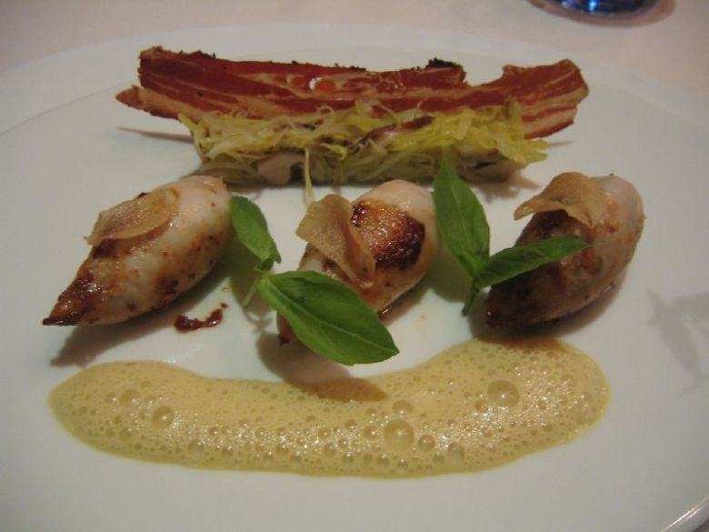 Chiperons stuffed with pig feet & lobster