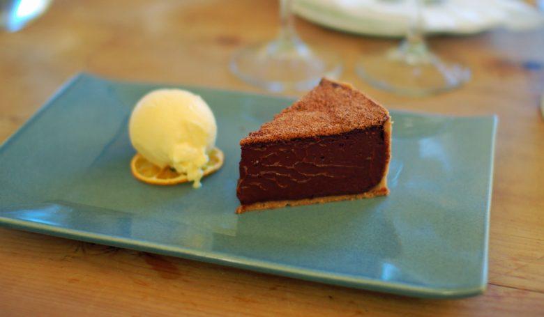 Chocolate Tart with Tangerine Ice Cream