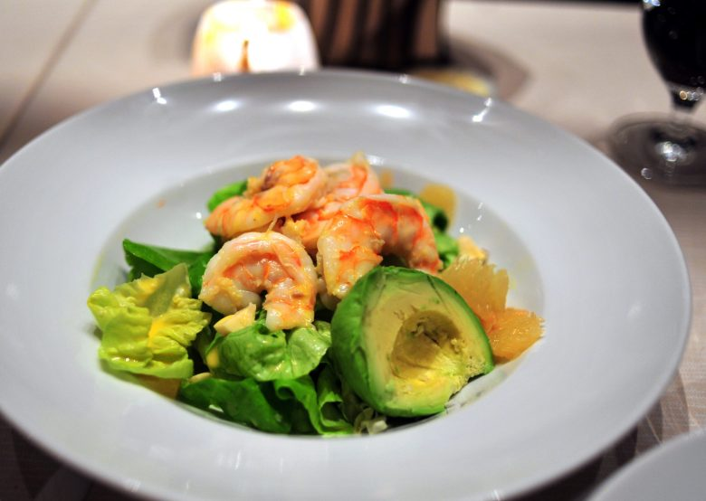 1st Course: Avocado, Grapefruit and Prawns