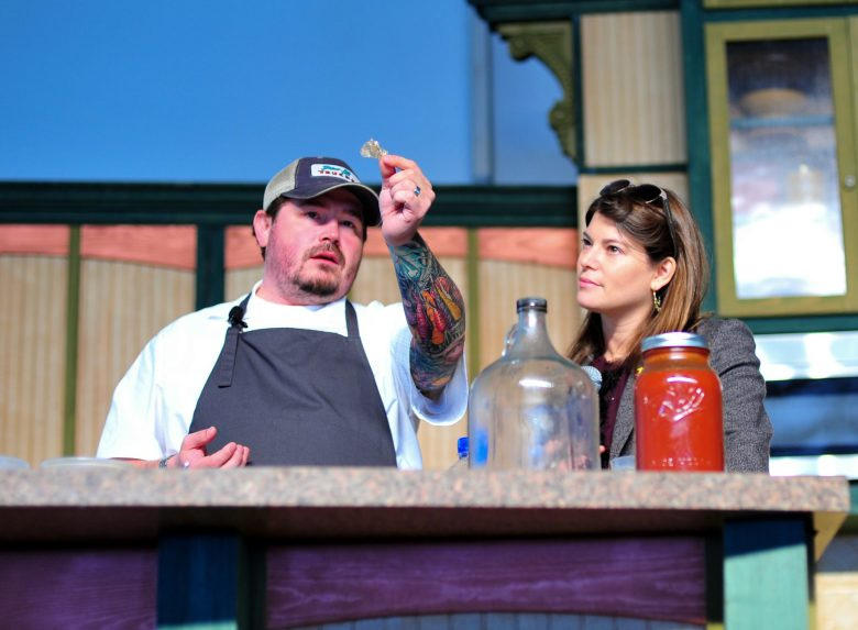 Sean Brock and Gail Simmons pondering the important things in life.