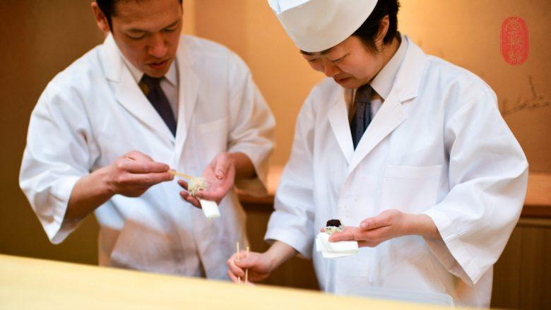 Making wagashi.