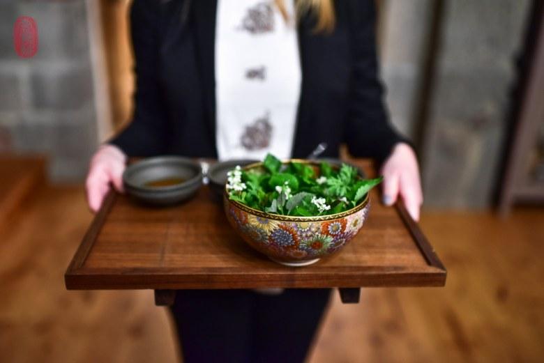 A salad of herbs.